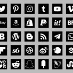 basic social icons black color