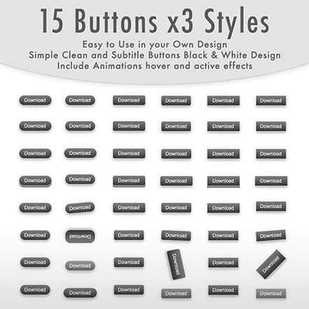 Black and White CSS Buttons Set